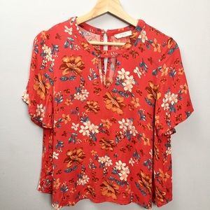Elodie Floral Keyhole Blouse Anthropologie Size M
